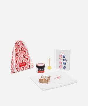 Tea Towel Block Print Kit Petal Indigo