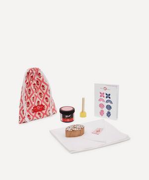 Tea Towel Block Print Kit Flower Indigo