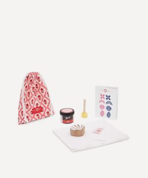 Tea Towel Block Print Kit Shell Indigo