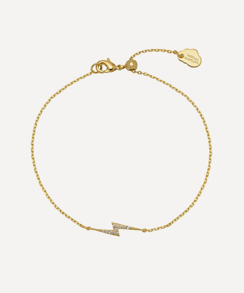 Estella Bartlett GOLD-PLATED CUBIC ZIRCONIA LIGHTNING BOLT CHAIN BRACELET