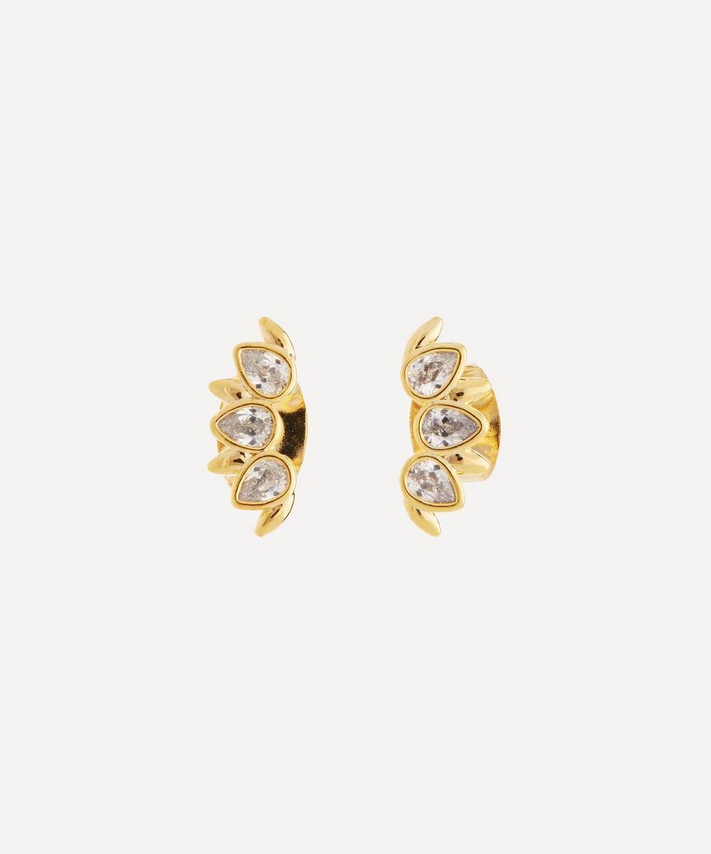 Estella Bartlett GOLD-PLATED PETAL CUBIC ZIRCONIA CRAWLER EARRINGS