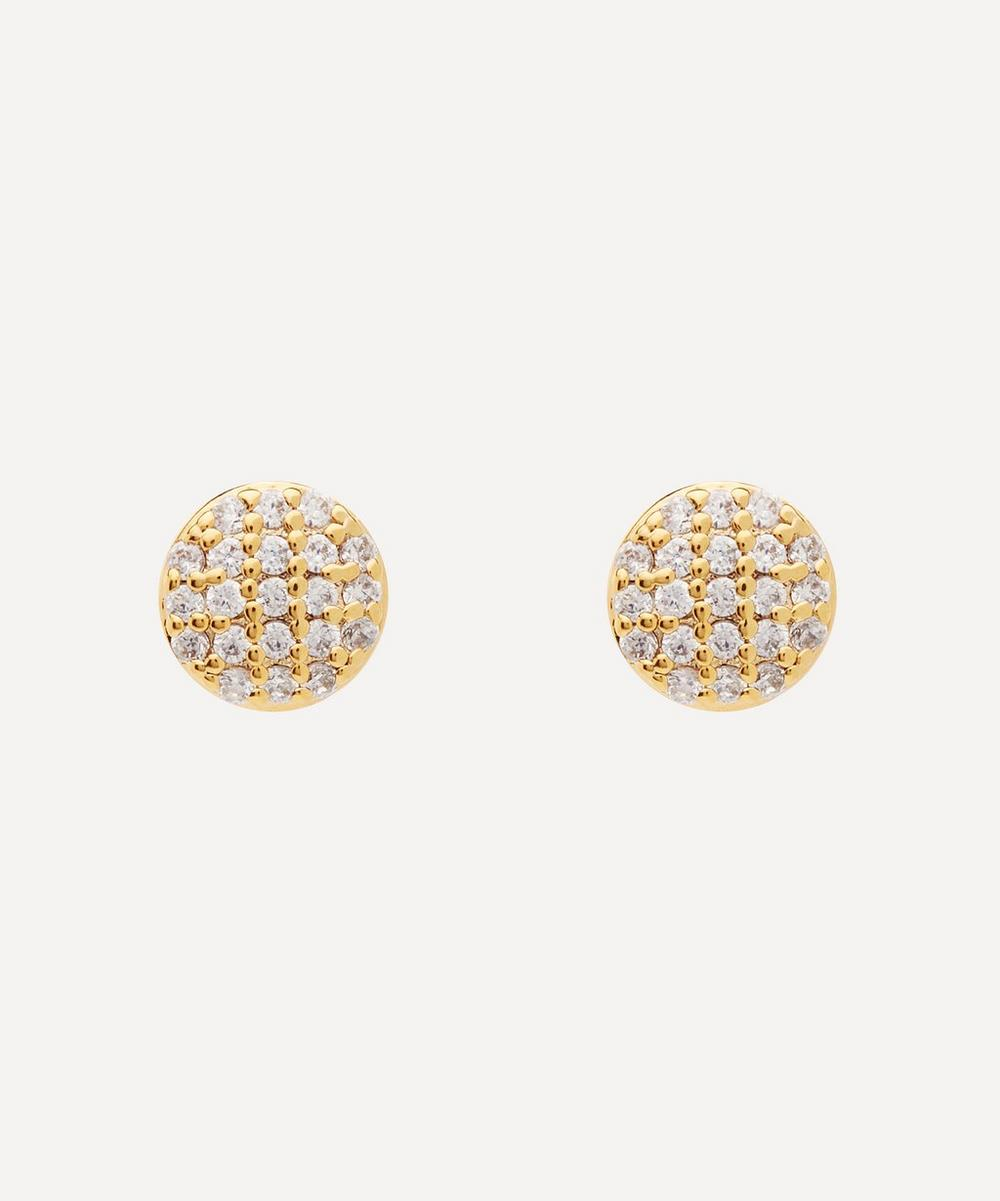 Estella Bartlett GOLD-PLATED CUBIC ZIRCONIA PAVE DISC STUD EARRINGS