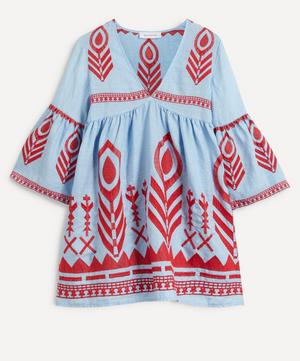Feather Embroidered Mini-Dress