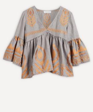 Feather Embroidered Top