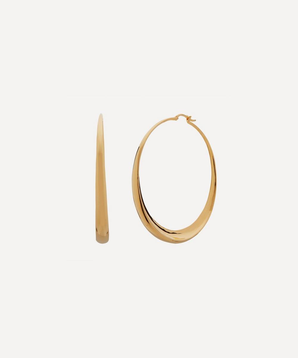 Monica Vinader Earrings GOLD PLATED VERMEIL SILVER DEIA CHAMFERED HOOP EARRINGS