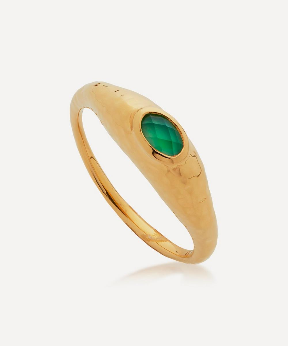 Monica Vinader Rings GOLD PLATED VERMEIL SILVER DEIA GREEN ONYX RING