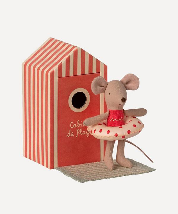 Maileg - Little Sister Mouse in Cabin de Plage Toy