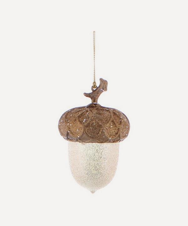 Unspecified - Glitter Detail Acorn Glass Tree Ornament