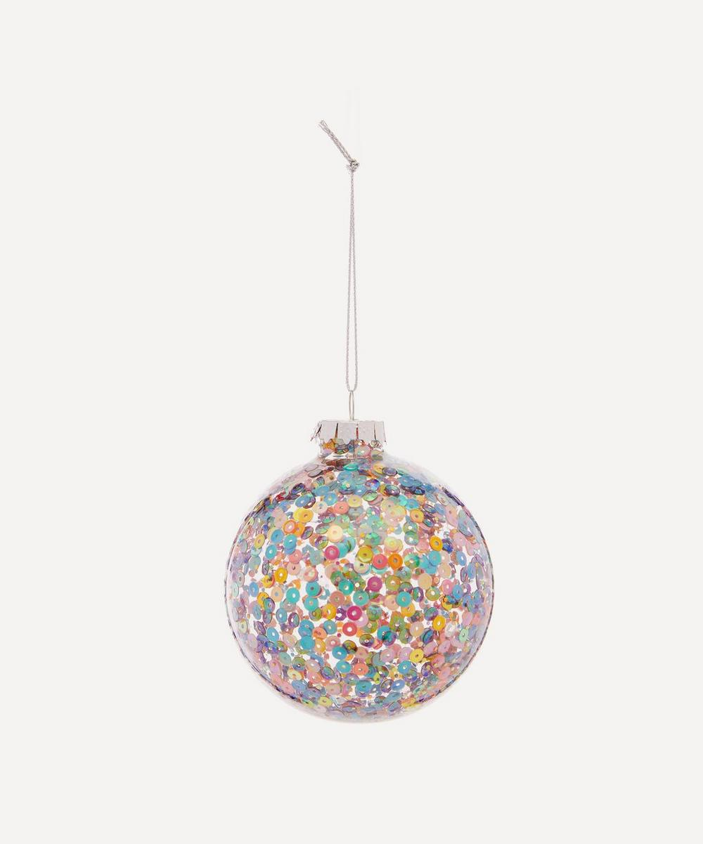 Unspecified - Multicoloured Sequin Clear Glass Bauble