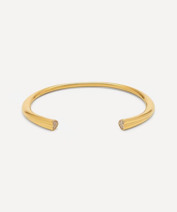 Estella Bartlett - Gold-Plated Cubic Zirconia Heart Open Cuff Bangle