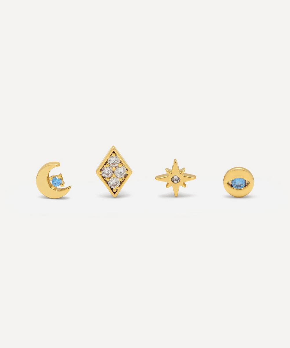 Estella Bartlett - Gold-Plated Mixed Celestial Cubic Zirconia Stud Earrings Set of Four