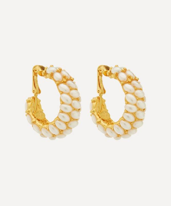 Kenneth Jay Lane - Gold-Plated Faux Pearl Cabochon Clip-On Hoop Earrings