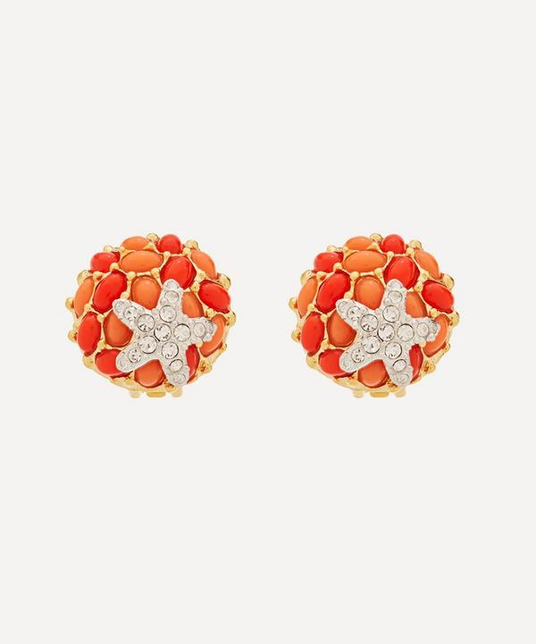 Kenneth Jay Lane - Gold-Plated Coral Resin Cabochon and Crystal Starfish Clip-On Earrings