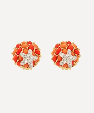 Gold-Plated Coral Resin Cabochon and Crystal Starfish Clip-On Earrings