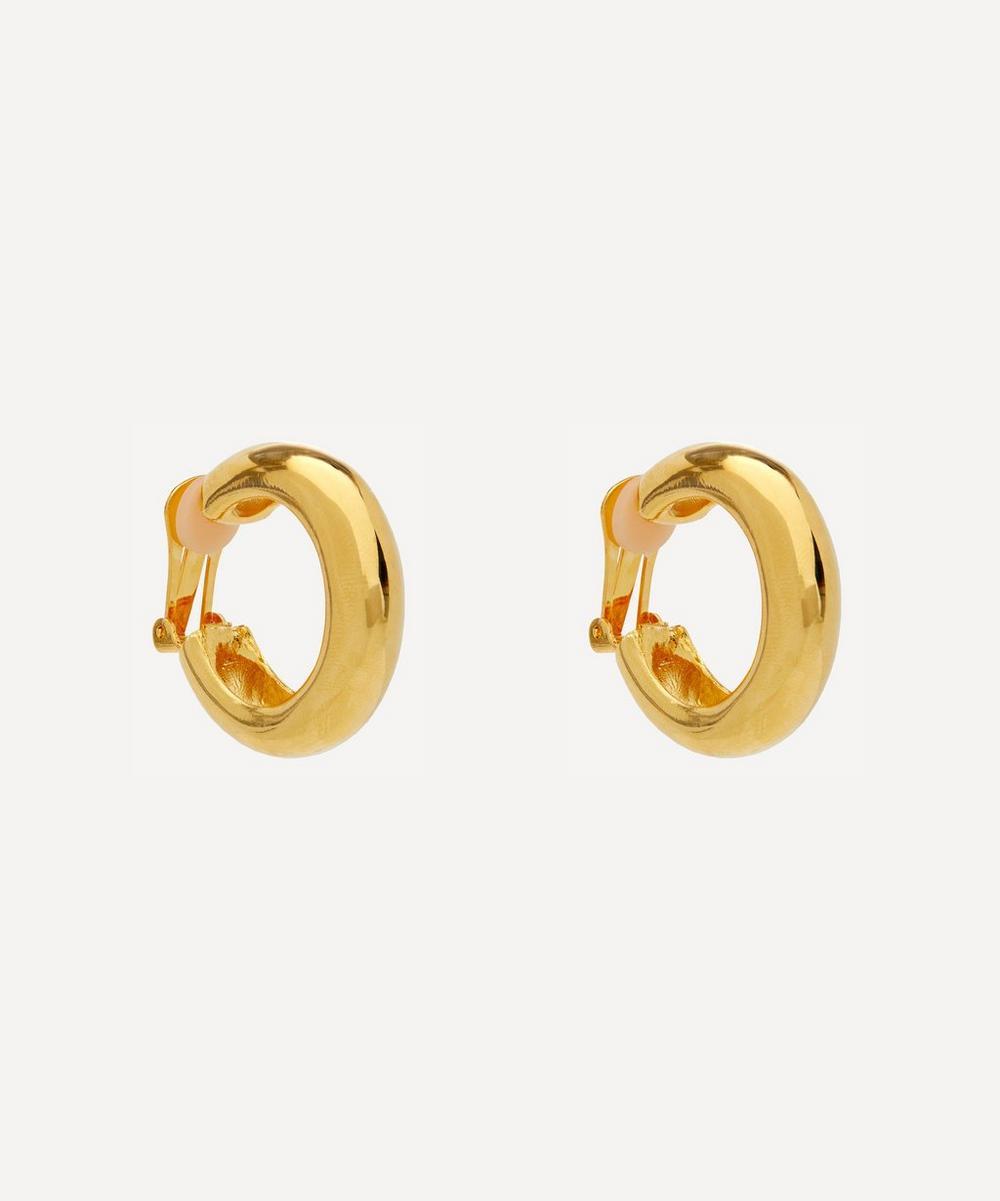 Kenneth Jay Lane - Gold-Plated Clip-On Tube Hoop Earrings