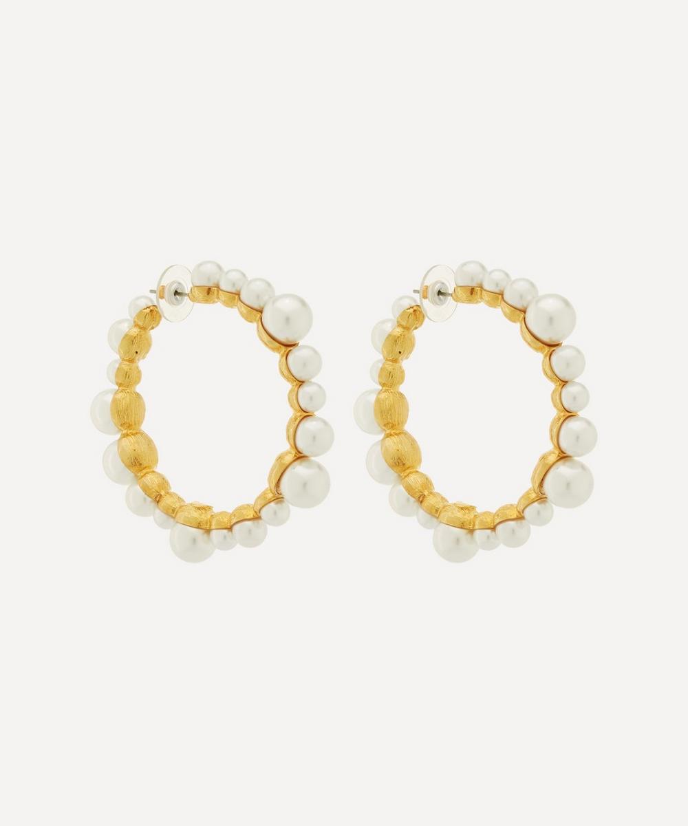Kenneth Jay Lane - Gold-Plated Faux Pearl Hoop Earrings