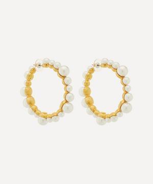 Gold-Plated Faux Pearl Hoop Earrings