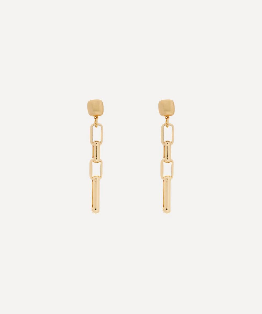 Kenneth Jay Lane - Gold-Plated Rectangular Link Drop Earrings