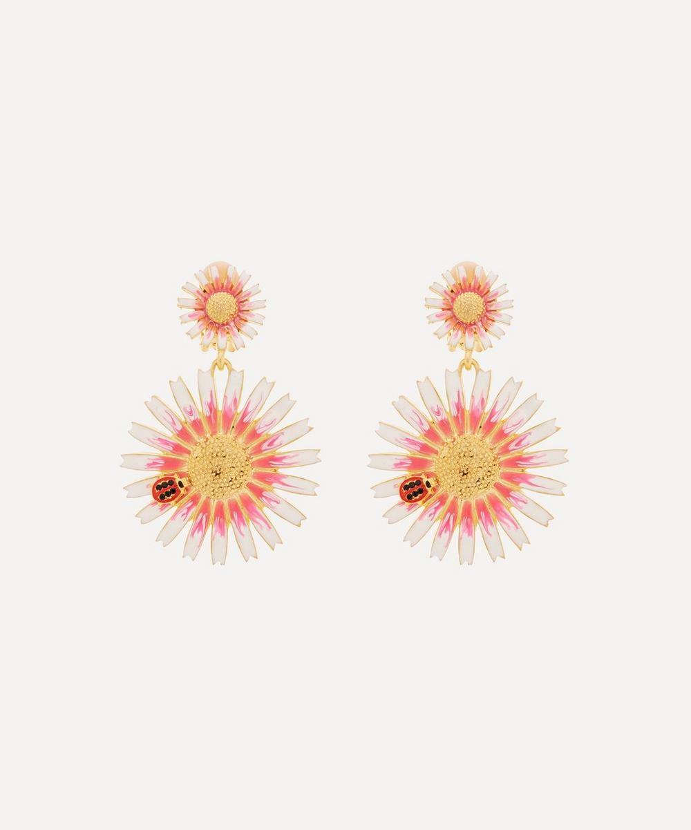 Kenneth Jay Lane - Gold-Plated Enamel Ladybird and Daisy Clip-On Drop Earrings