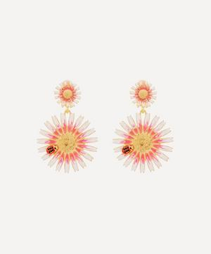 Gold-Plated Enamel Ladybird and Daisy Clip-On Drop Earrings