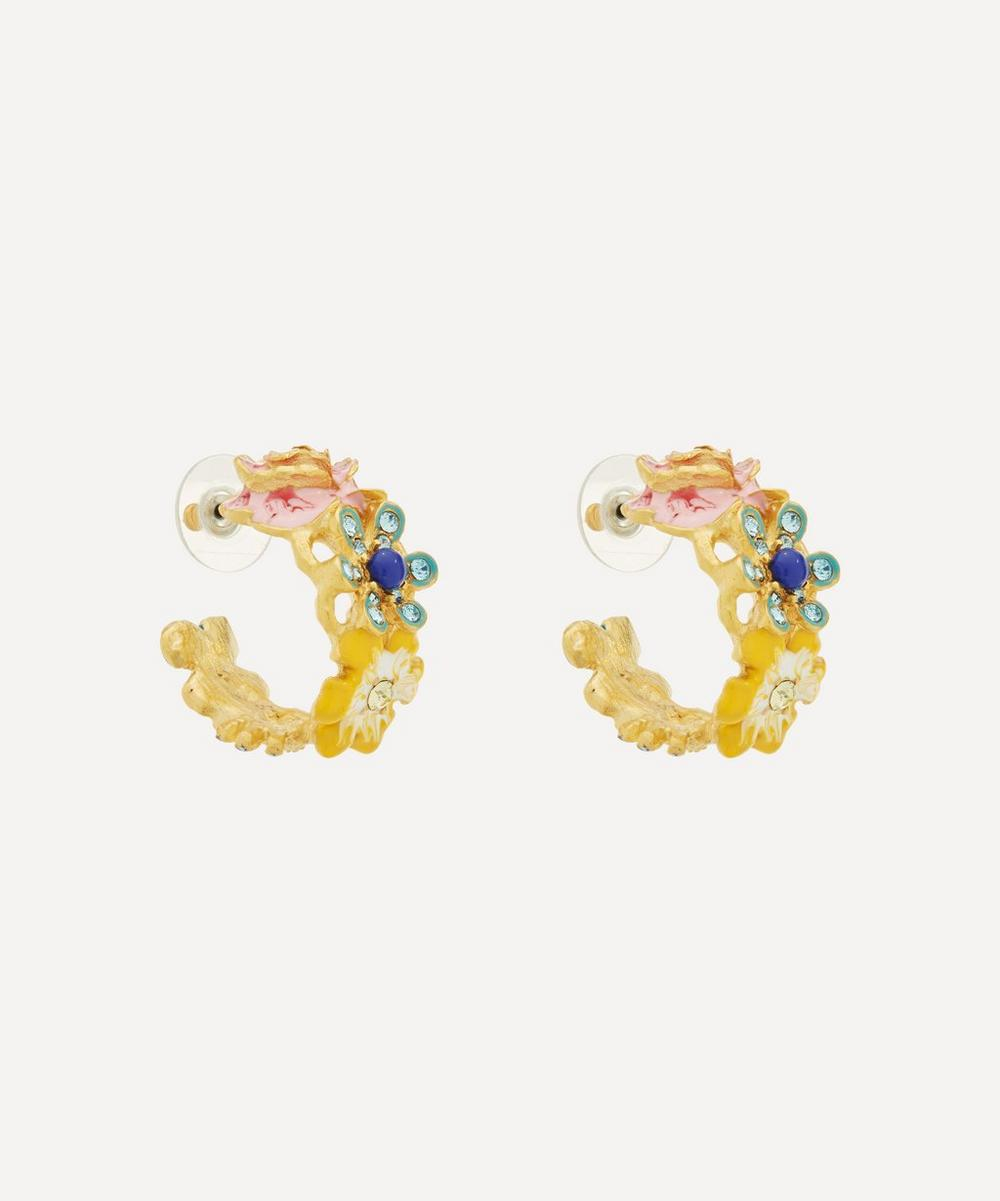 Kenneth Jay Lane - Gold-Plated Enamel Flower Hoop Earrings