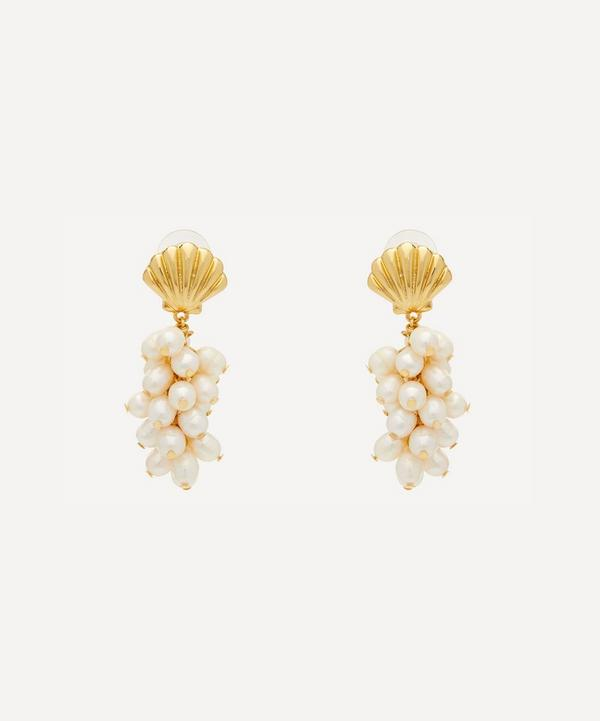 Kenneth Jay Lane - Gold-Plated Shell and Faux Pearl Cluster Drop Earrings