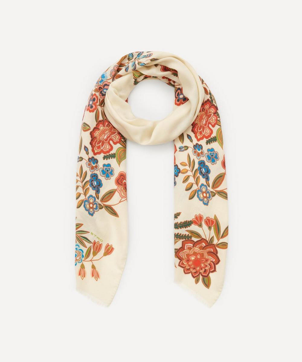 Etro - Floral Print Cashmere-Blend Scarf