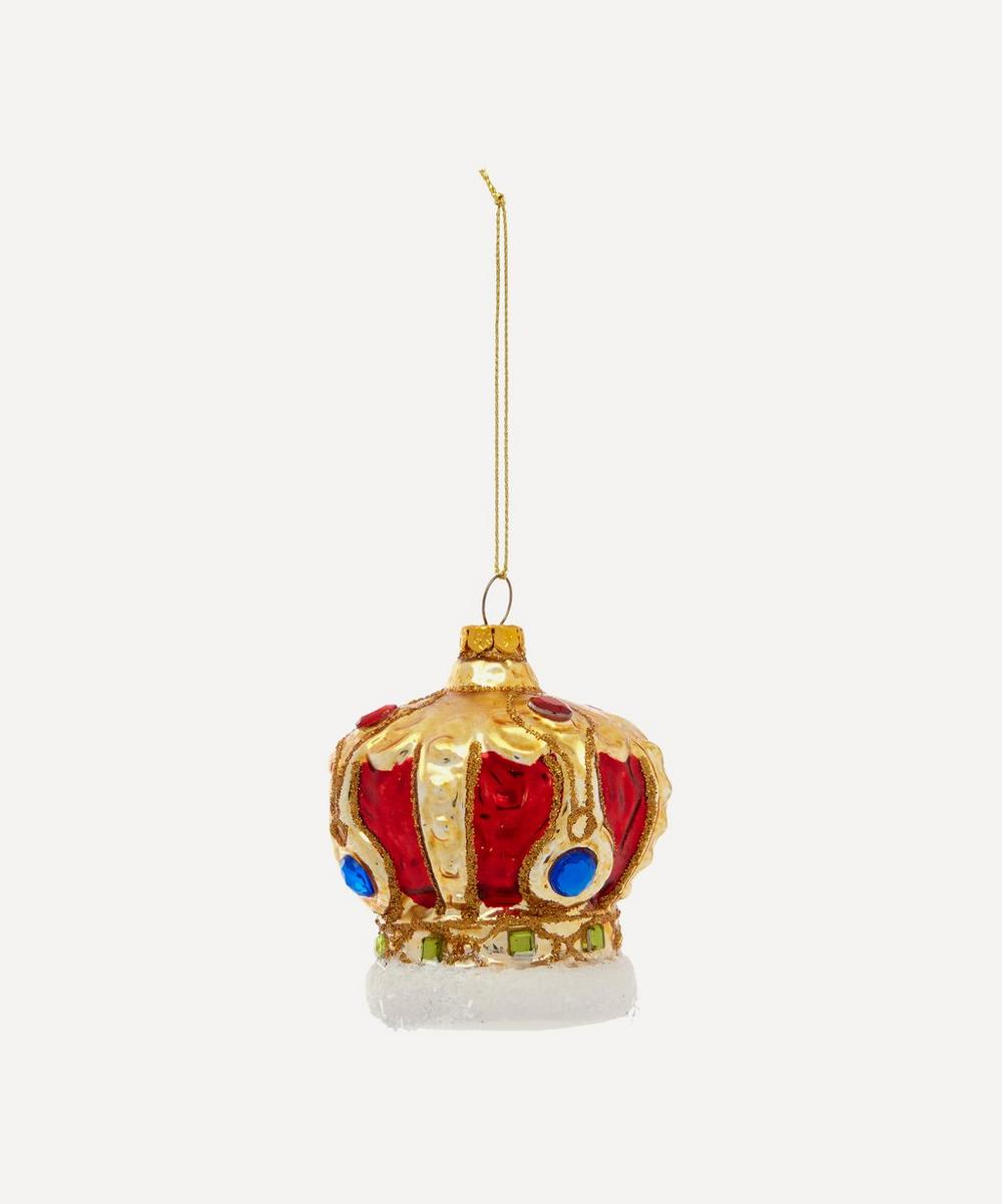 Unspecified - Metallic Crown Embellished Glass Tree Ornament