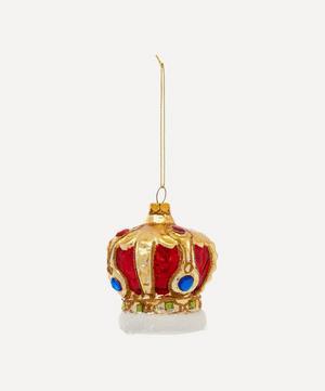 Metallic Crown Embellished Glass Tree Ornament