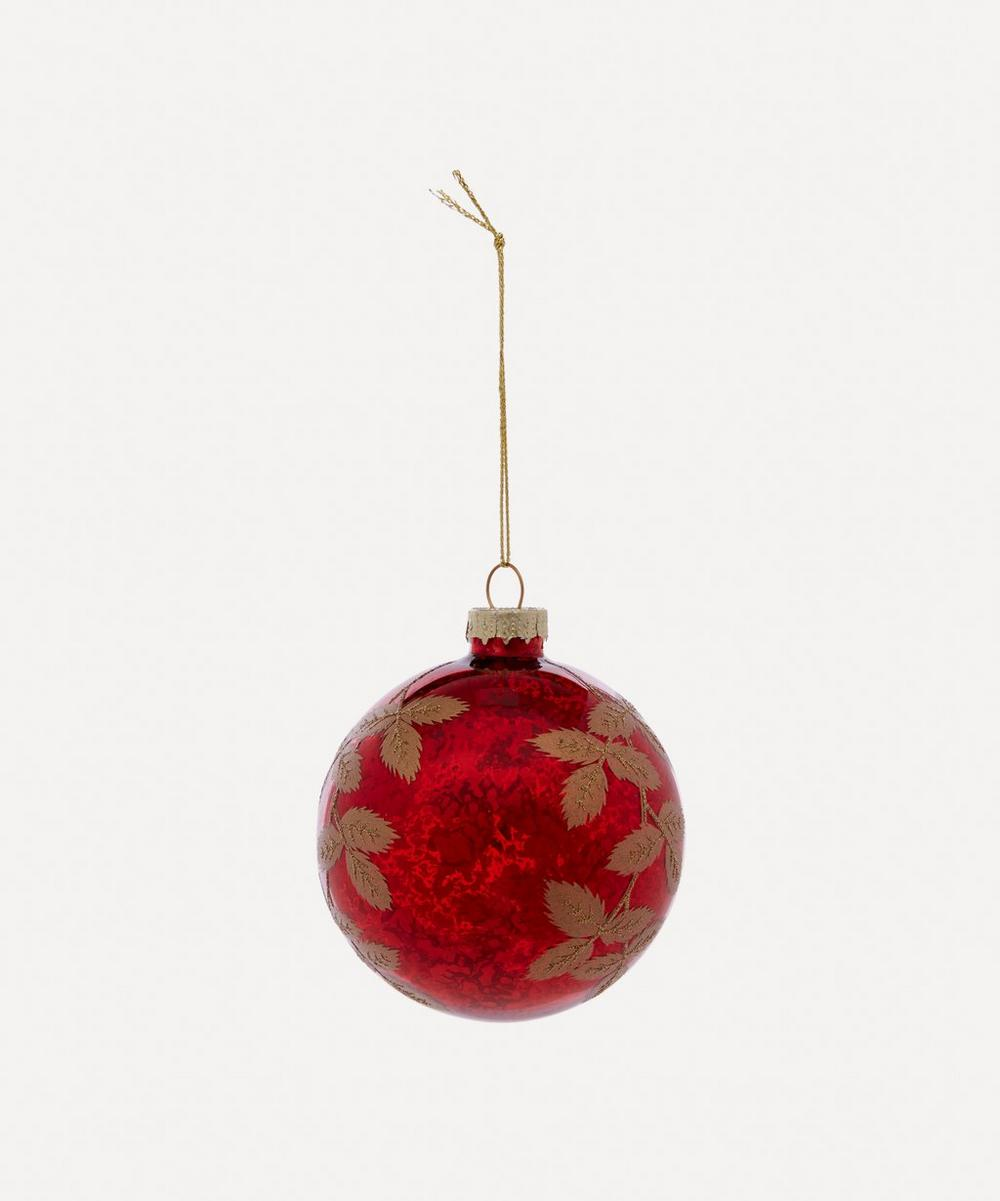 Unspecified - Antique Leaves Metallic Glass Bauble