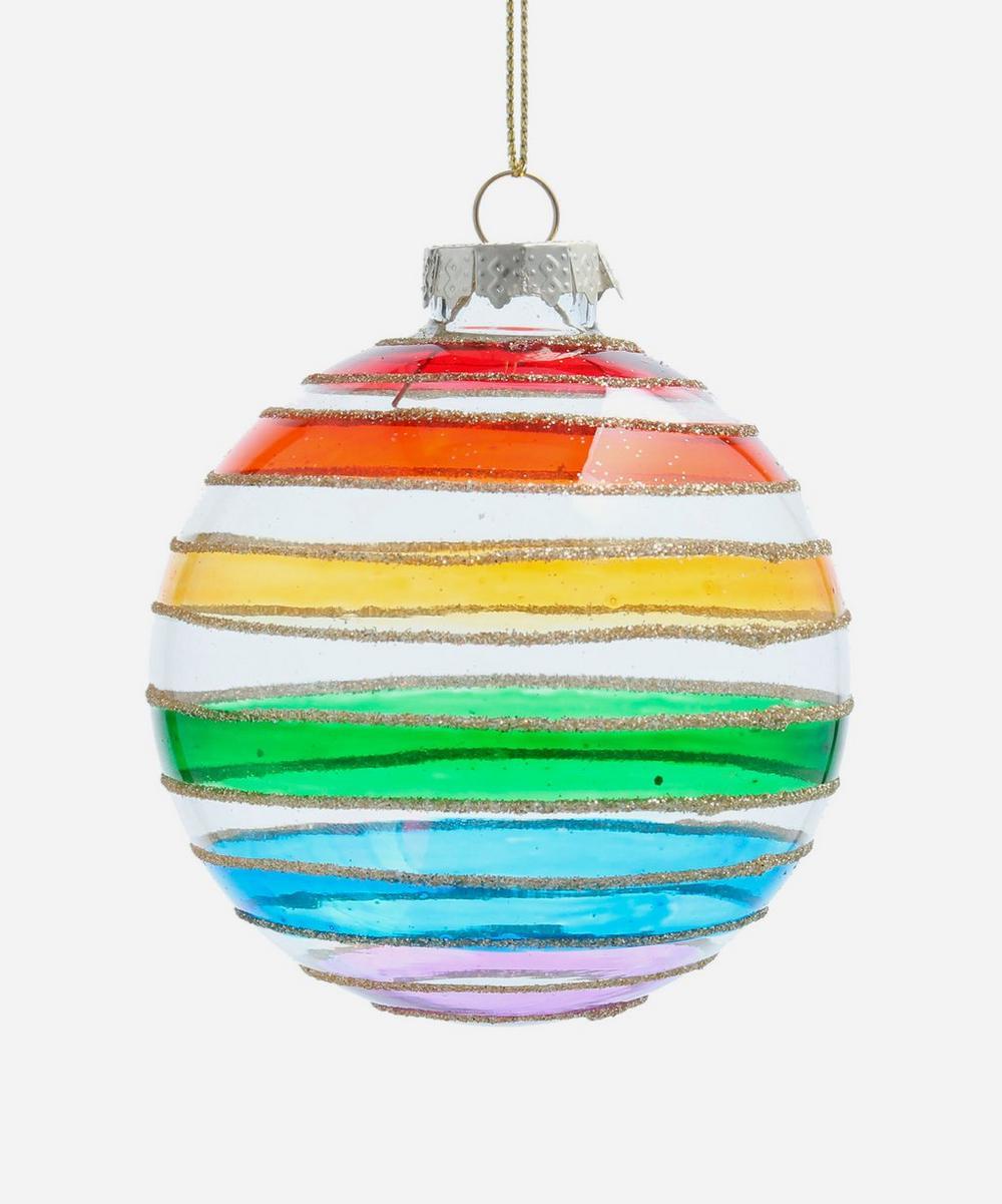 Unspecified - Rainbow Stripe Glitter Glass Bauble