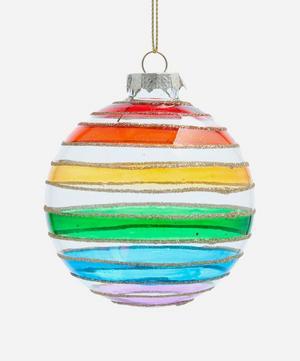 Rainbow Stripe Glitter Glass Bauble