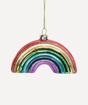 Rainbow Glitter Glass Tree Ornament