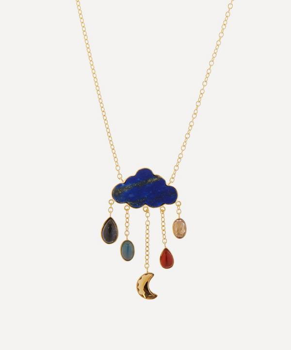 Grainne Morton - Gold-Plated Cloud and Rain Multi-Stone Pendant Necklace