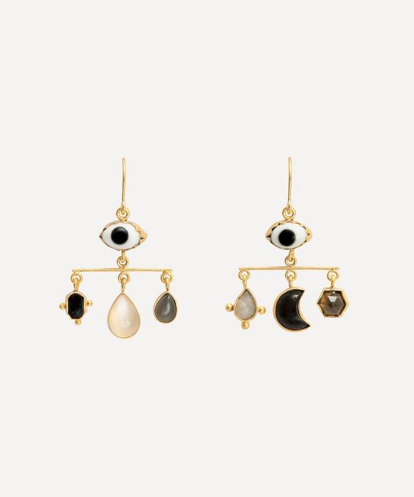 Grainne Morton - Gold-Plated Eye Balance Asymmetric Multi-Stone Drop Earrings