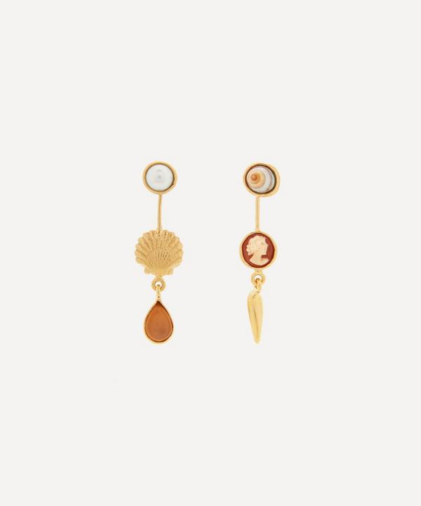 Grainne Morton - Gold-Plated Asymmetric Multi-Stone Double Detachable Victorian Drop Earrings
