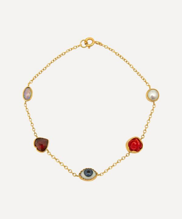 Grainne Morton - Gold-Plated Multi-Stone Five Mini Charm Bracelet