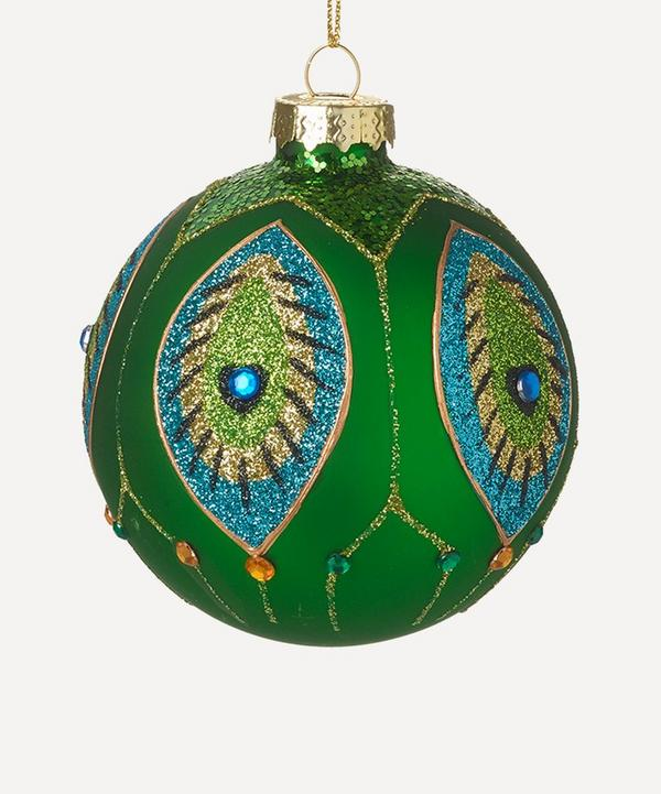 Unspecified - Peacock Feather Sequin Glitter Glass Bauble