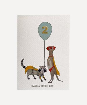 Racoon and Meerkat Age Two Card