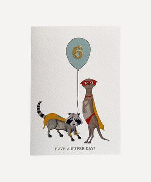Racoon and Meerkat Age Six Card