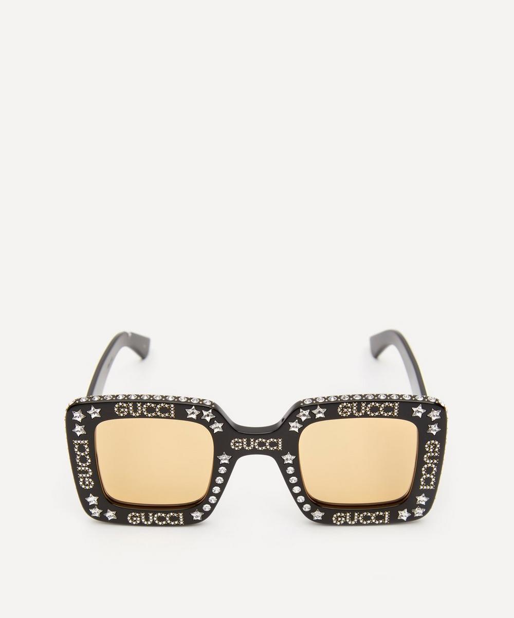 Gucci - Crystal Logo Square Sunglasses