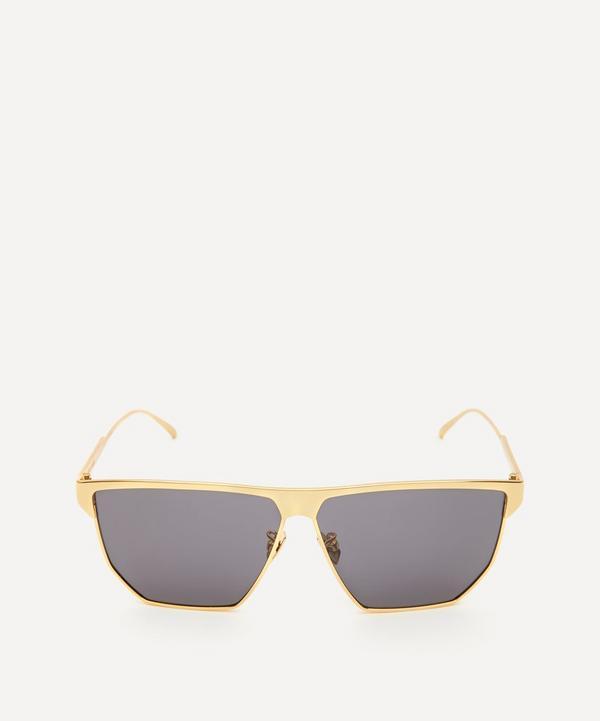 Bottega Veneta - Angular Aviator Metal Sunglasses