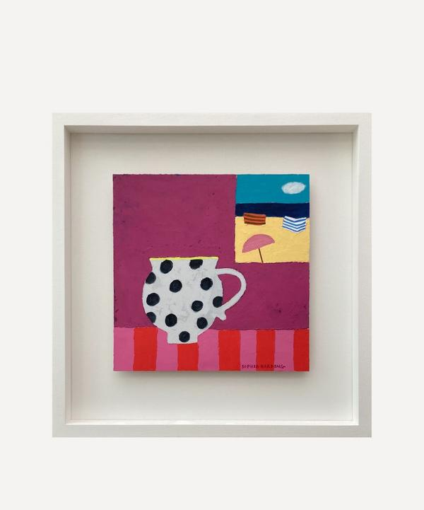 Sophie Harding - Spotty Cup and Sea View Original Framed Painting