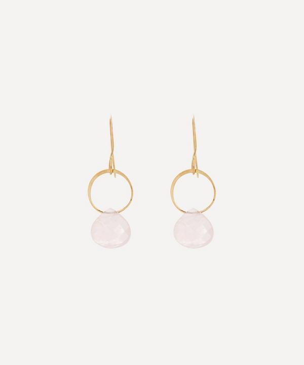 Melissa Joy Manning - 14ct Gold Rose Quartz Single Drop Earrings