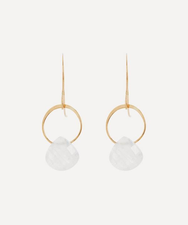 Melissa Joy Manning - 14ct Gold Rainbow Moonstone Single Drop Earrings