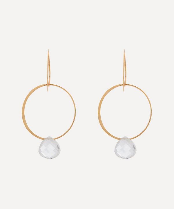 Melissa Joy Manning - 14ct Gold White Topaz Single Drop Earrings