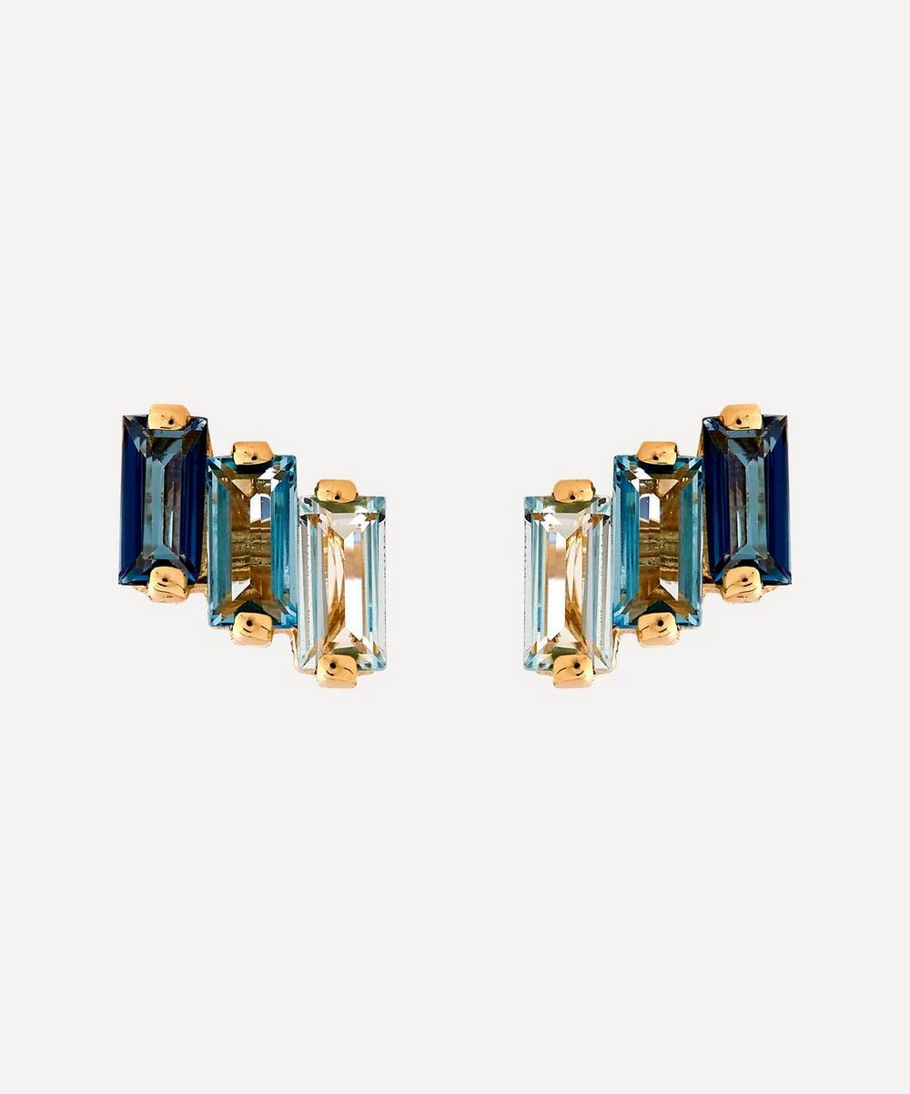 Suzanne Kalan - 14ct Gold Multi Blue Topaz Three Baguette Stud Earrings