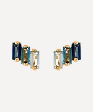 14ct Gold Multi Blue Topaz Three Baguette Stud Earrings