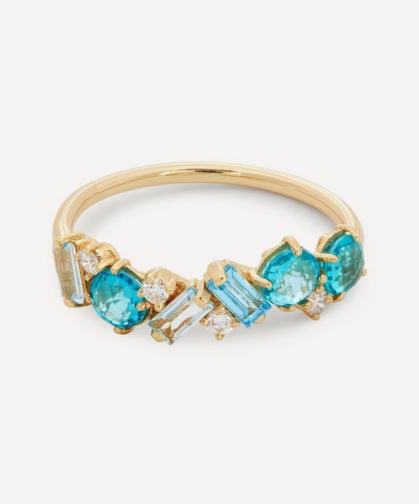 Suzanne Kalan - 14ct Gold Multi Blue Topaz and Diamond Ring