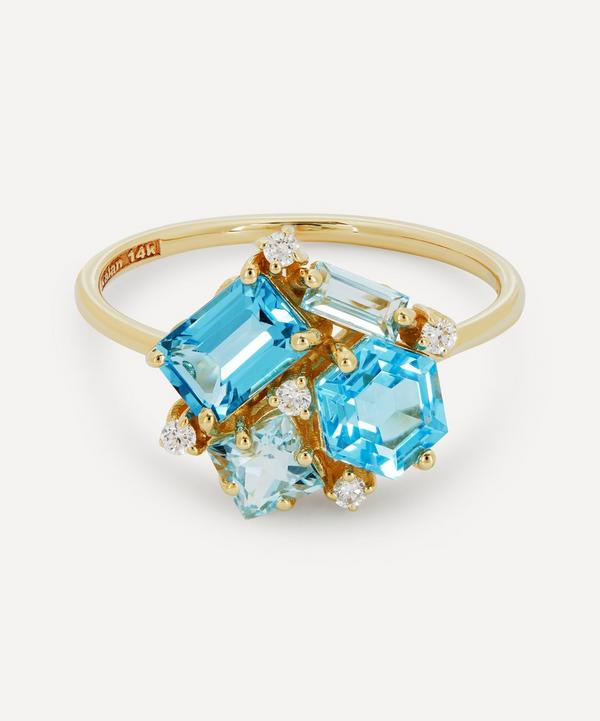 Suzanne Kalan - 14ct Gold Multi Blue Topaz and Diamond Cluster Ring